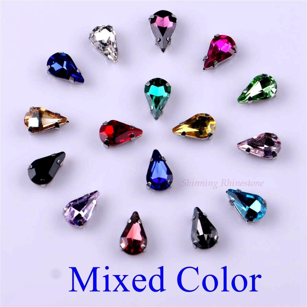 Узкий Каплевидная форма стеклянные стразы с когтями пришить с украшением в виде кристаллов Камень страз с алмазными металлическими Базовая Пряжка 20 шт./упак - Цвет: Mixed Color