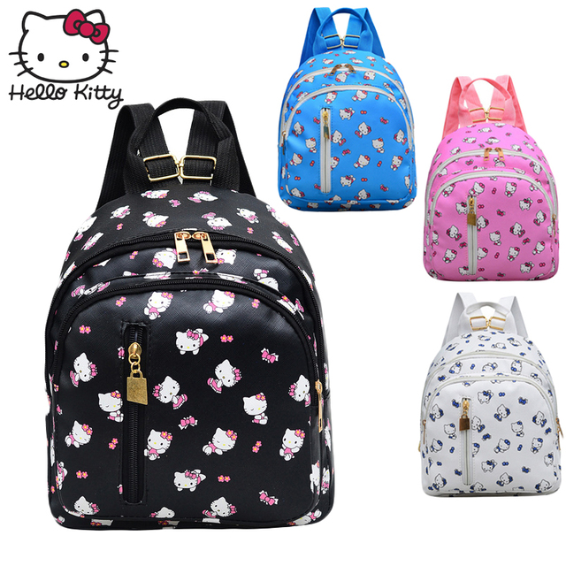 932cb733b Hello Kitty Cute Cartoon Bag hellokitty Fashion Women Single Shoulder PU  Waterproof Girl Schoolbag Shoulder Plush Backpack