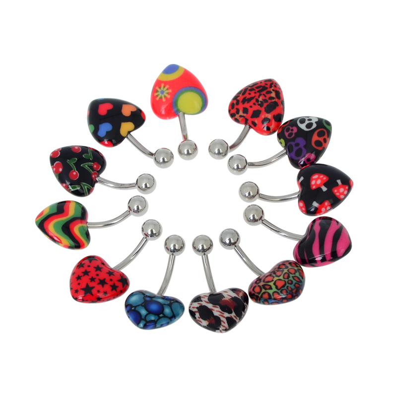 Wholesale Trendy Stainless Steel Belly Button Ring Peach Heart Navel Rings Piercing Mix Colors Body Jewelry 12Pcs/Lot