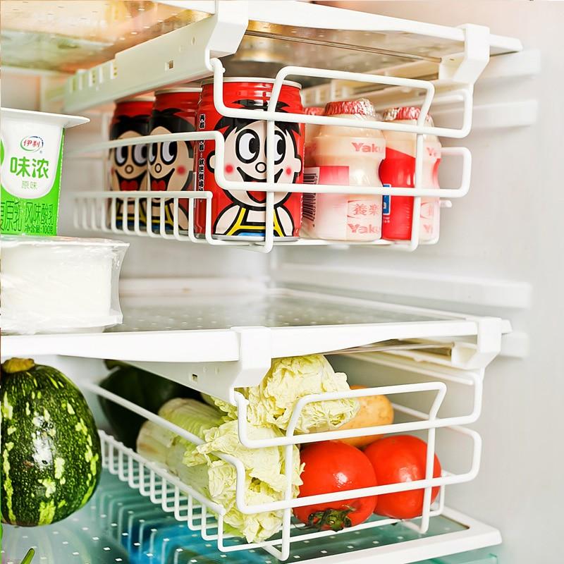 Iron refrigerator shelf vegetable rack kitchen supplies telescopic wall rack storage rack