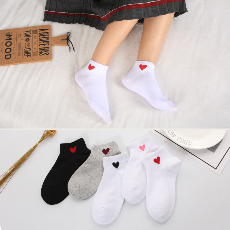Funny Cotton Pretty Heart Cute Warm women   socks   hosiery cute spring Winter female Pink   socks   white ankle ladies Sox short   socks