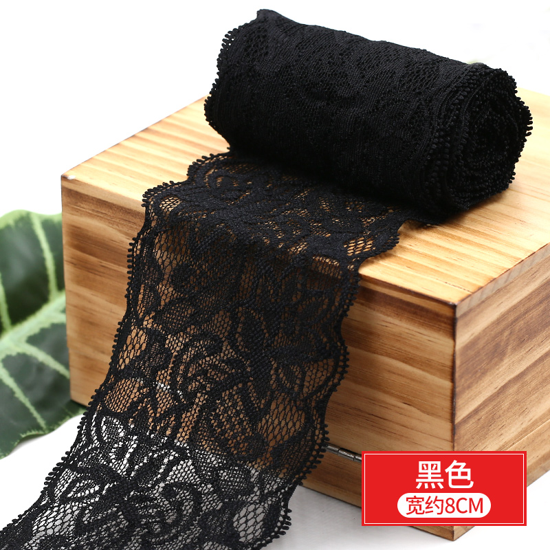 HTB1EHGKbsnrK1RjSspkq6yuvXXaA 8cm Spandex Lace Elastic Crafts Sewing Ribbon White Black Stretch Lace Trimming Fabric Knitting Material DIY Garment Accessories