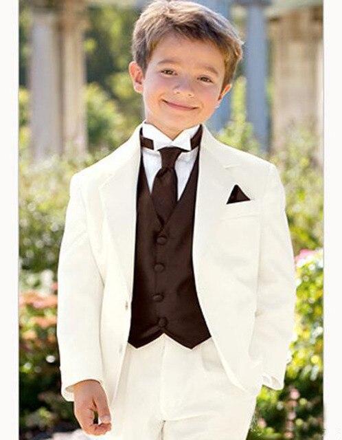 5 pcs Ivory Boy Suits Kids Tuxedos Notched Lapel Children Suit Kid ...
