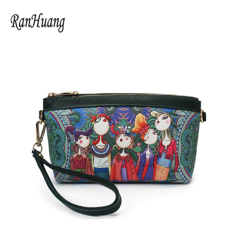 Ranhuang Small Handbags Clutches Flower-Printing High-Quality Women Fashion Flap PU Day