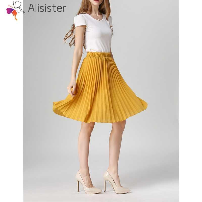 2019 Summer New Sweet Chiffon Pleated Skirt Women Vintage High Waist Solid  Tutu Skirts Elegant Casual d0611e61dc1c