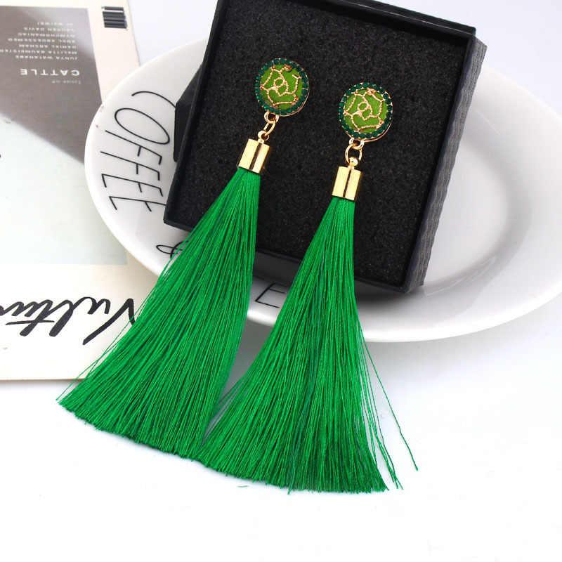 Boucles d'oreilles bohème cristal gland pour femmes mode féminine ethnique longue rouge noir frange Dangle boucle d'oreille 2019 bijoux