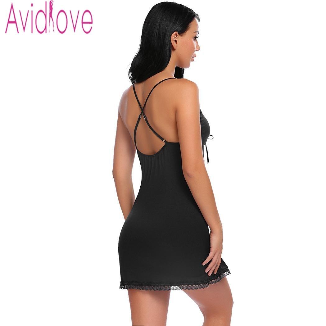 Avidlove Nightie Cotton Nightgowns Plus Size Sexy Home Wear Women's Sleepwear V-Neck Sleeveless Nightwear Female Sleep Dress 4
