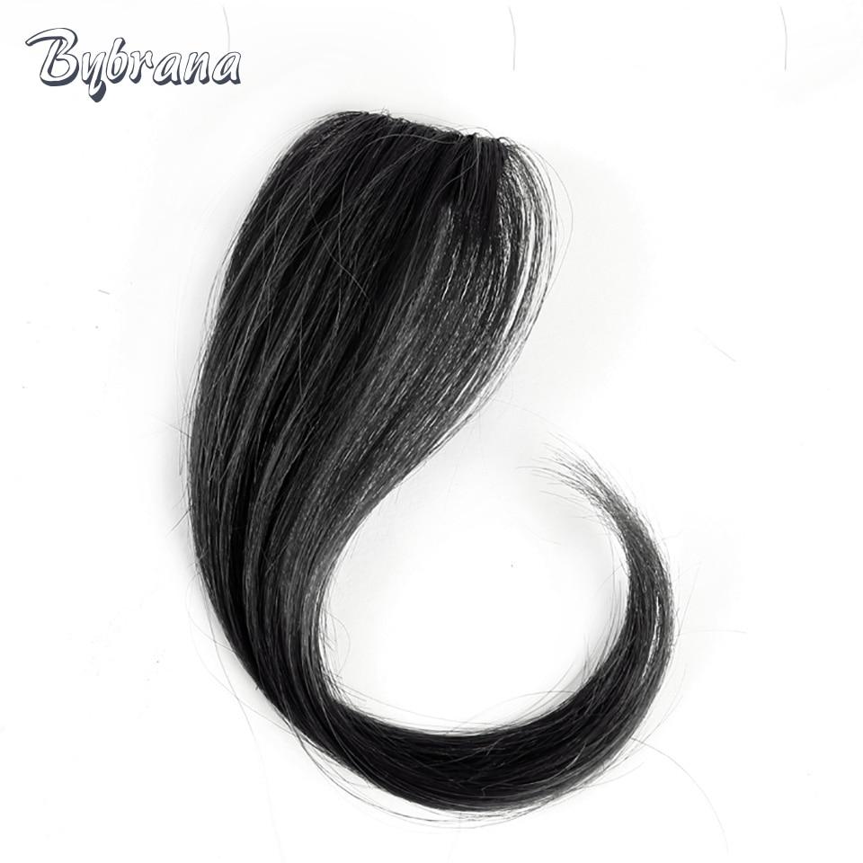 Bybrana Brazil Remy Klip Dalam Rambut Manusia Rambut Bangs 25cm dan - Rambut manusia (untuk hitam)