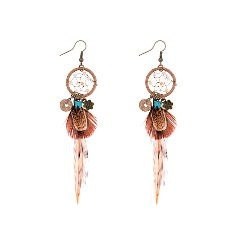 TopHanqi Bohemian Hollow Dream Catcher Leaf Feather Earrings For Women Indian Jewelry Blue Natural Stone Drop Dangle Earrings