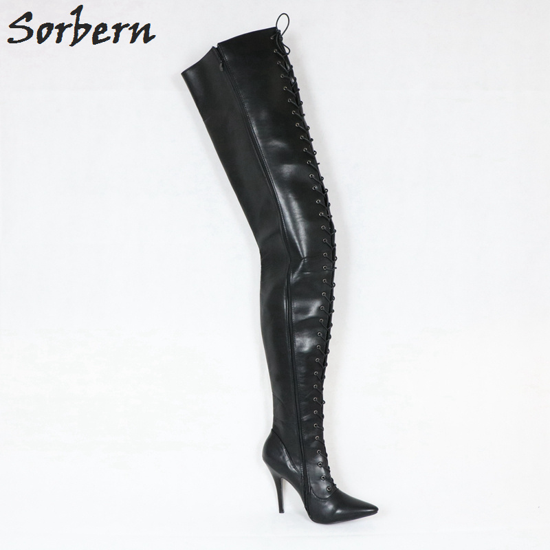 Sorbern Custom Extreme Long Boot 95Cm Crotch High Plus Size 46 Boots Women Lace Up Stiletto Boots Unisex Personalized Calf Width