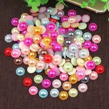 12 мм Лидер продаж 100 шт. Разноцветный жемчуг полукруглый Flatback с цветами и бусинами для ювелирных изделий DIY Craft украшение для скрапбукинга