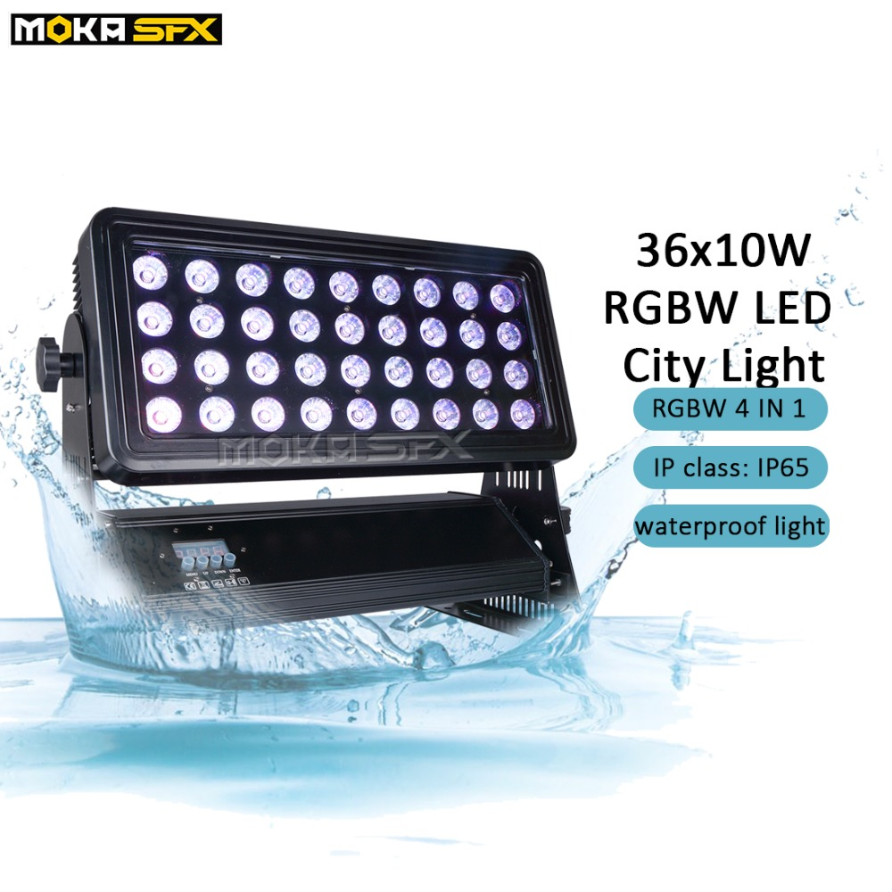36x10W LED City Light Outdoor Building Projector IP65 Rgbw 4 In 1 Led Color Wash Lights DMX Wash Lights Stage Lighting Effect