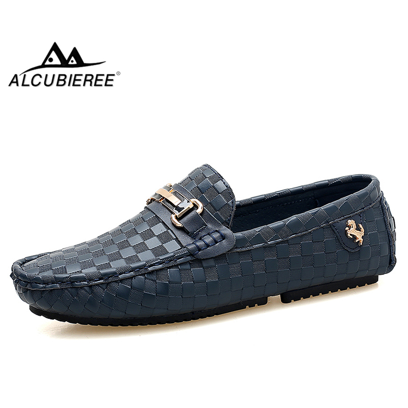ALCUBIEREE Mens Plaid Embossing Leather Loafers Men's Luxury Italian Handmade Moccasins Man Casual Slip on Flats Driving Shoes