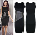 2016 Design as Stars Hot sale Slim Figure flattering OL Leather Patchwork Casual Pencil Sexy Women Dress Black