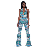 Sexy Sleeveless Backless Jumpsuit Women Fashion Printed Flared Pants 2017 Europe And America Style Sexy Deep