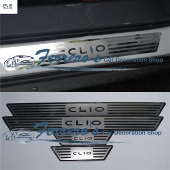 Dla 2014 2015 2016 Renault CLIO iv CLIO 4 samochód stylowe naklejki 4 sztuk partia ze stali nierdzewnej płyta chroniąca przed zarysowaniem próg drzwi dekoracyjne pokrywa tanie i dobre opinie NoEnName_Null Chrom stylizacja STAINLESS STEEL 0 31kg