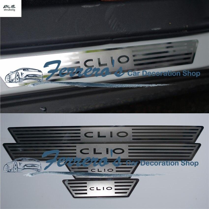 Para 2014 2015 2016 Renault CLIO CLIO IV 4 car styling etiqueta 4 pçs/lote Placa Chinelo Soleira Da Porta de Aço Inoxidável tampa decorativa