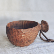Pure Hand-made Wooden Teak Bowl with Handle Burma Teak Easy to Carry Coating Friendly Oil Quality Tableware for Milk/Salad