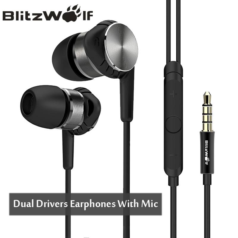 BlitzWolf Hybrid 3.5mm אוזניות עם מיקרופון טלפון אוזניות Wired ספורט באוזן ביטול רעש אוזניות סטריאו באס earbud