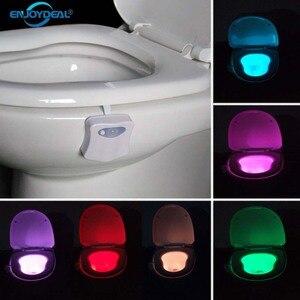 Image 2 - 1 pièce 2 pièces 8 lampes LED changeantes de couleur lumière corps salle de bains mouvement bol toilettes veilleuse activé On/Off lumières siège capteur lampe