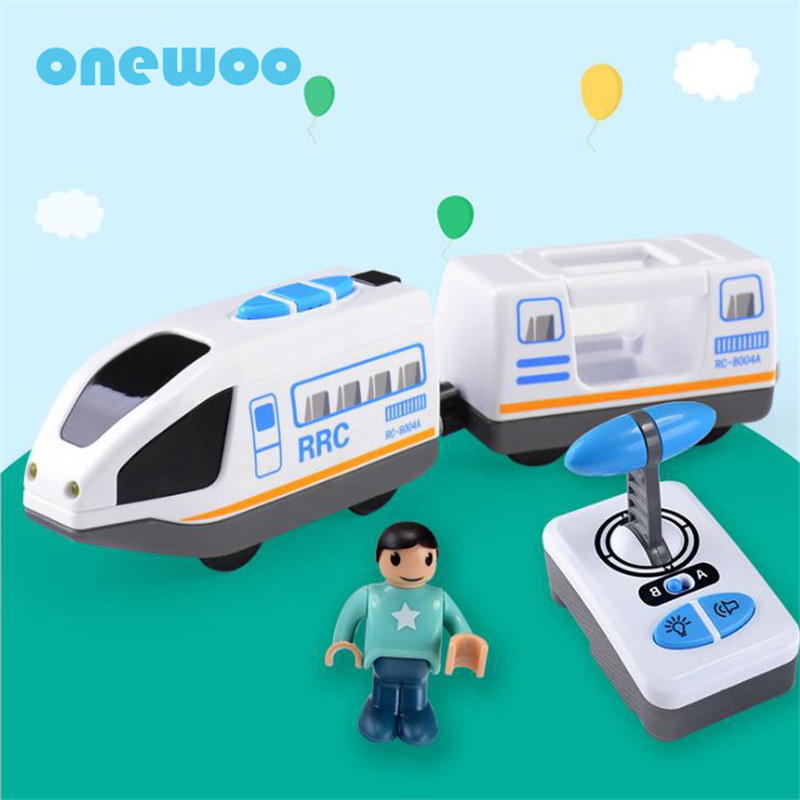 onewoo Electric Model Railway Wood Train Track Toys