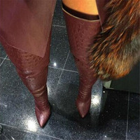 EMMA KING 2018 Fashion Snake Print Zapatos De Mujer Pointed Toe Long Boots High Heels Croc Black Wine Red Thigh High Boots Women