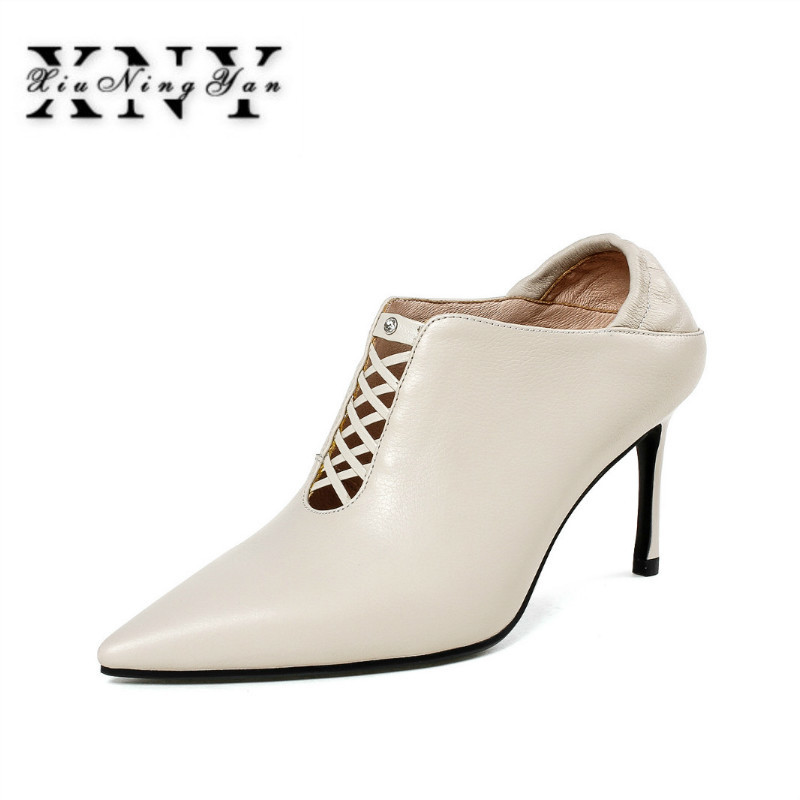 XIUNINGYAN Female High Heel Shoes Hollow Sexy Ladies Pumps 2018 New Pointed Toe Female Thin Heel Short Shoes Slip On Footwear stylish womens pointed toe animal print pumps party stilettos shoes plus new fashion female slip on thin heel super high heel