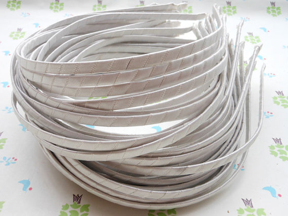 70pcs - white Satin Covered ribbon wrapped quality plastic Headband -5mm Toddler/Girl Hair Accessories Supplies