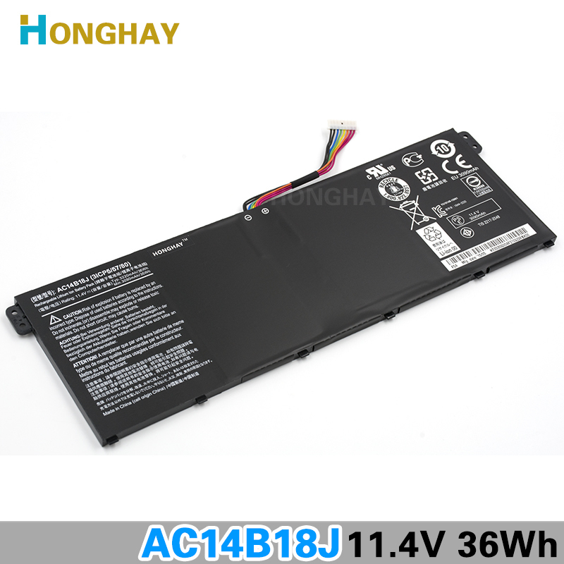 HONGHAY AC14B18J New Laptop Battery for Acer Aspire E3-111 E3-112 E3-112M ES1-511 TravelMate B116 B115-M B115-MP AC14B13j N15Q3 original new al12b32 laptop battery for acer aspire one 725 756 v5 171 b113 b113m al12x32 al12a31 al12b31 al12b32 2500mah