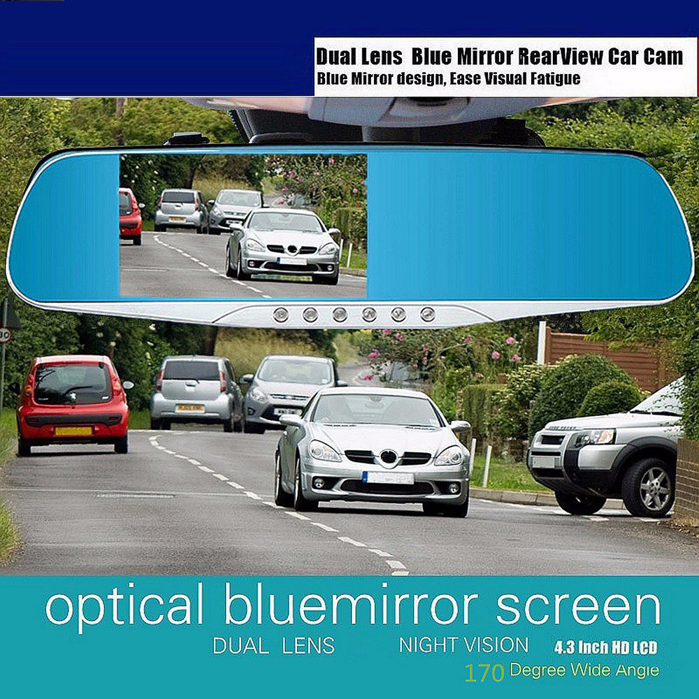 4.3 Full HD 1080P Auto Car DVR Rearview Mirrors Camera Video Recorder Dash Cam Card Up to 32Gb HDMI night vision Russian
