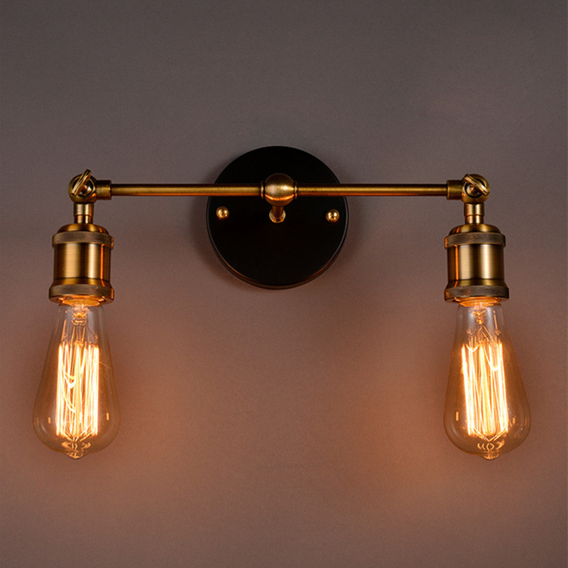 Vintage Loft Metal Double Heads Wall Light Retro Brass Wall Lamp Country Style E27 Edison Sconce Lamp Fixtures AC90-260V vintage loft double heads marble stone shaded