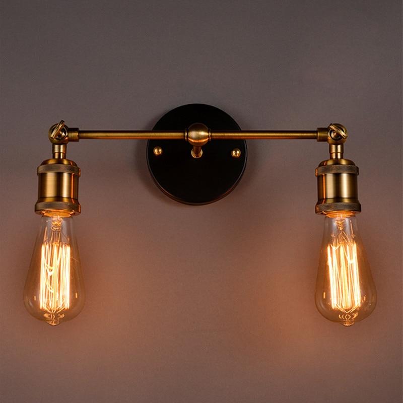 Vintage Loft Metal Double Heads Wall Light Retro Brass