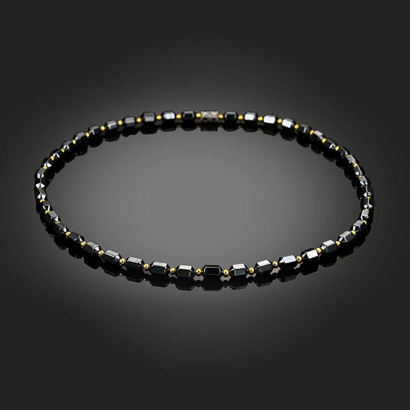 Women Men Charm Necklace Black Magnetic Beaded  Hematite Necklace Chain Health Radiation Protection Jewelry