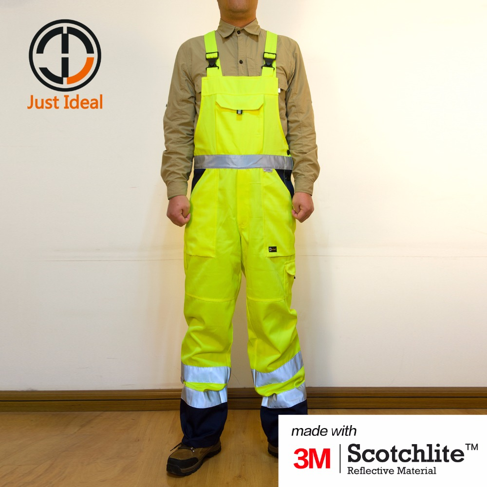 Men Cargo Overall High-Visibility Bib pant Protective Clothing With 3M Reflective Material HV Pant Waterproof Plus Size ID682