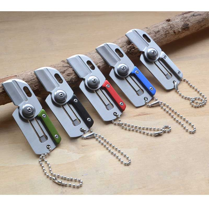 1 Pcs Mini Pocket Foldable Knife Card Army Survival Knife With Keychain Outdoor Sports Self Defense Supplies Survival Kits