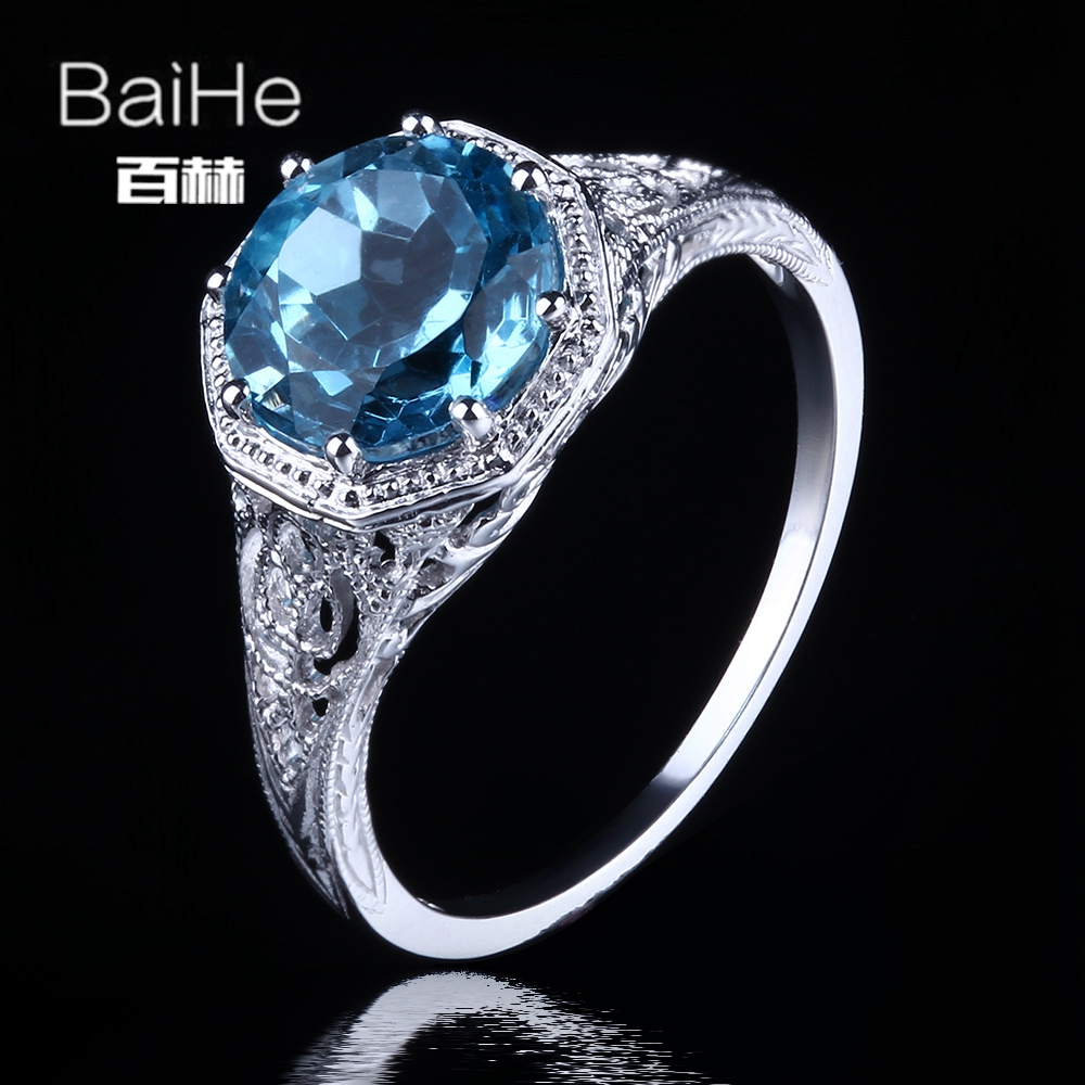Здесь продается  BAIHE Sterling Silver 925 2.3ct Certified Flawless 100% Genuine Sky Blue Topaz Engagement Women Vintage Fine Jewelry unique Ring  Ювелирные изделия и часы