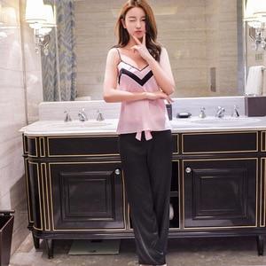 Image 2 - Lisacmvpnel moda dış giyim spagetti kayışı seksi kadın pijama seti nefes kadın pijama