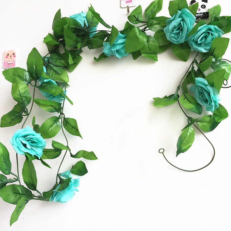 250CM/lot Silk Roses Artificial Flowers With Green Leaves For Home Wedding Decoration 15