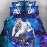 Free shipping 5pcs modal cotton twin/full/queen/king/super king size 3d tiger horse unicorn zebra bedding set with comforter