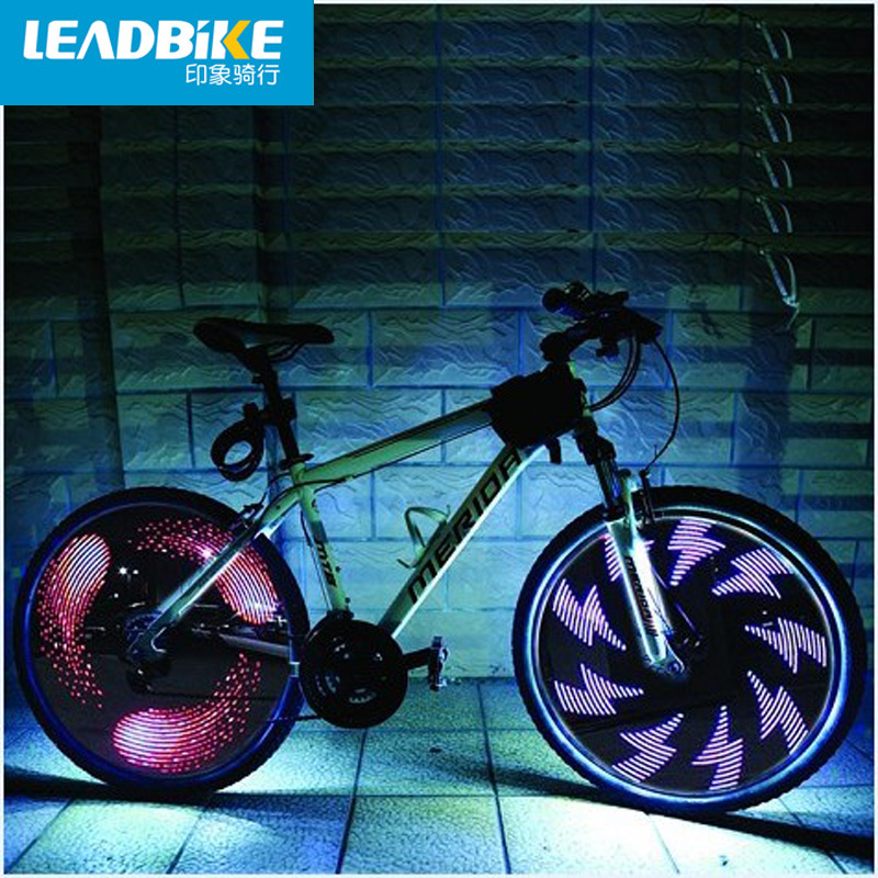 Leadbike bicycle wheel light double display 21 flash patterns with 32 rgb led lights lamp for