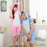 Summer Cartoon Animal Siamese Pajamas Cotton Short Sleeved Male Female Pure Lovely Couple Stitch A Pajamas