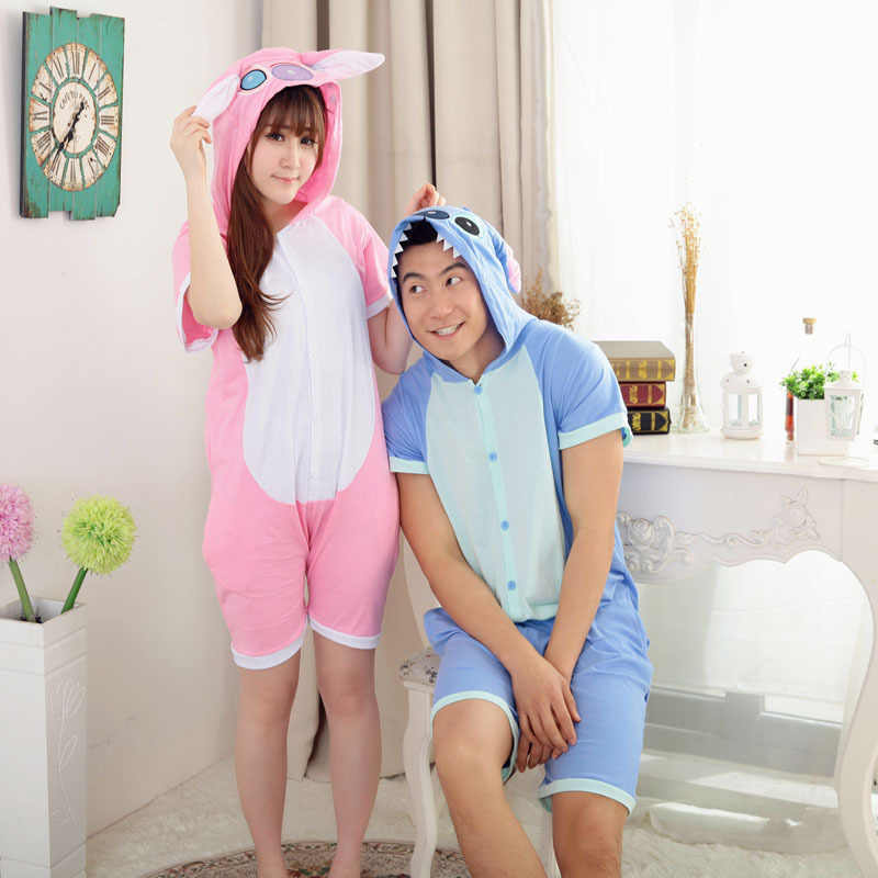 HOT couple Summer pink Lilo  blue stitch onesies pajamas cartoon animal  pyjamas cotton short sleeved sleepwear e6bd76dfa