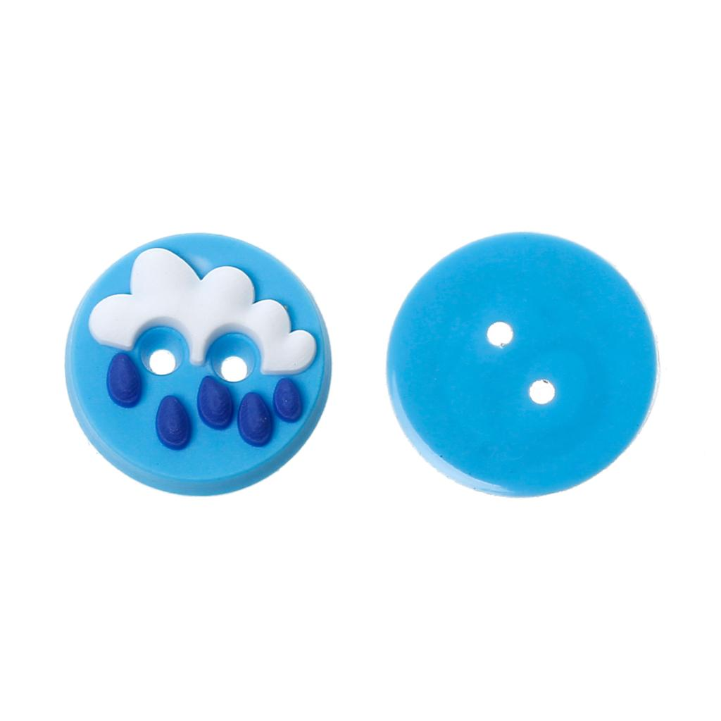 Approx 1.3mm,10 Pcs 2015 New Buttons Apparel Sewing & Fabric Doreenbeads Polymer Clay Craft Sewing Button Round Blue Cloud Pattern About 13mm Dia,hole