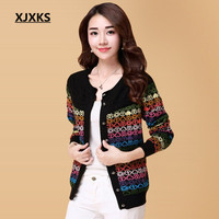 XJXKS colorful high blends knitted women o neck cardigan sweaters single breasted plu size women's sweater coat