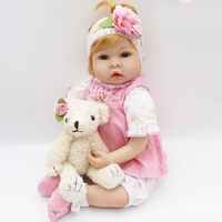 Latest New 55cm Silicone Reborn Baby Dolls Boneca With Pink Colthes Adora Lovely Fashion Dolls Princess