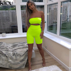 Image 1 - Kliou 2018 women sexy short fluorescence playsuits short hollow out strapless female sexy skinny solid party rompers bodysuits