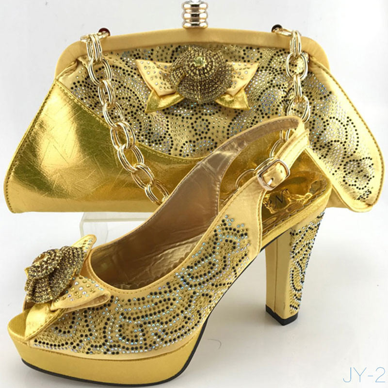 New Arrival Italian Matching Shoe And Bag Sets African Fashion Gold Color High  Heels Women Pump H170220h 72332ac09e97