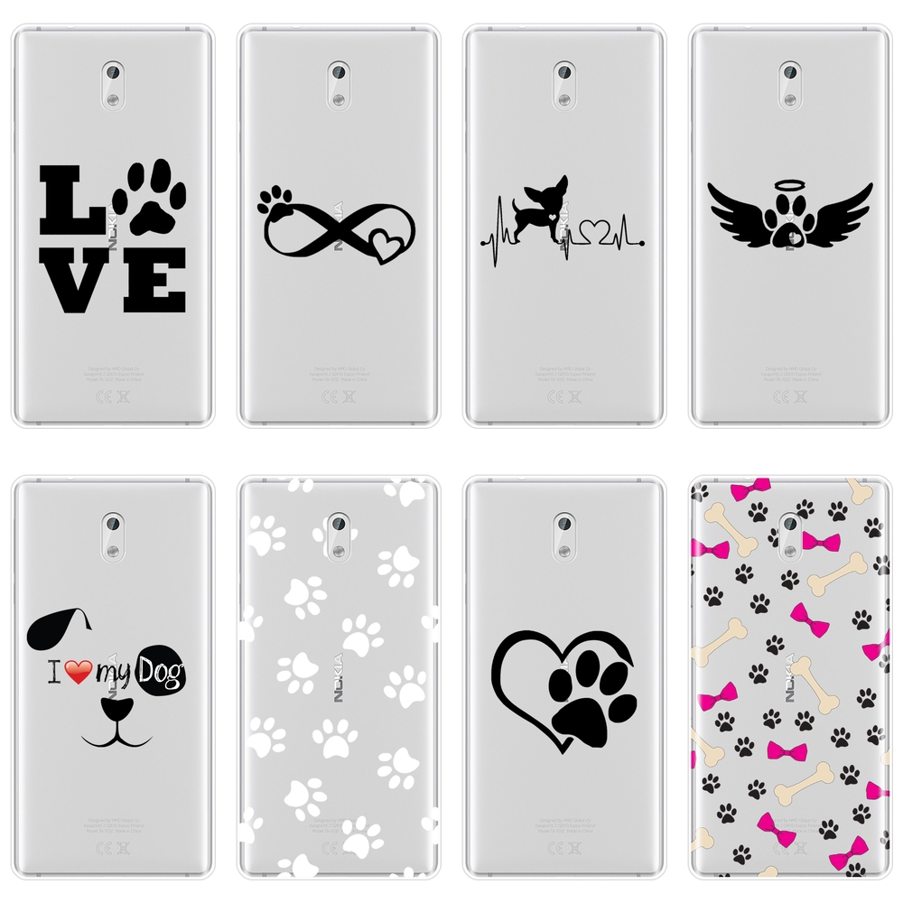 TPU Heart <font><b>Dog</b></font> Puppy Love Kawaii Funny Cute <font><b>Case</b></font> For <font><b>Nokia</b></font> X6 7 Plus Soft Silicone Back Cover For <font><b>Nokia</b></font> 1 2 <font><b>3</b></font> 5 6 8 Phone <font><b>Case</b></font> image