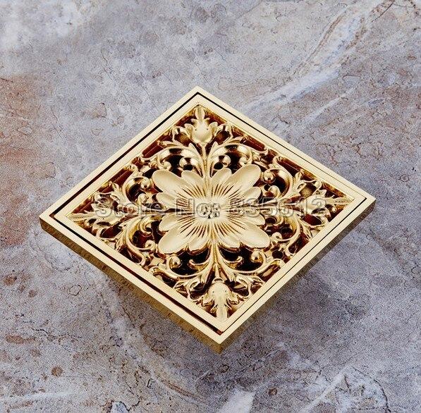 Square Bathroom Floor Drain Waste Grate Shower Drainer Gold Color Brass Finish Whr027 интегральная микросхема stime 100pcs lot 3w 1w 5w led heat sink