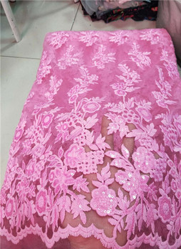 Sequins Net Tulle Lace Fabric 2018 Latest High Quality Wedding Laces Nigeria Embroidery Mesh Guipure Laces Fabric black, pink